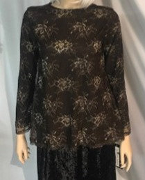 Modest Top Black & Floral Lace
