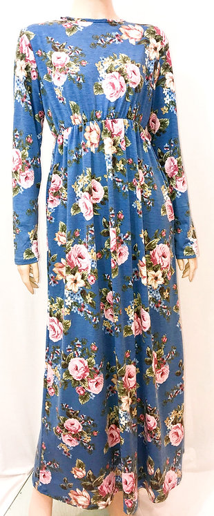 Modest Robe Empire Waist Blue & Pink Floral