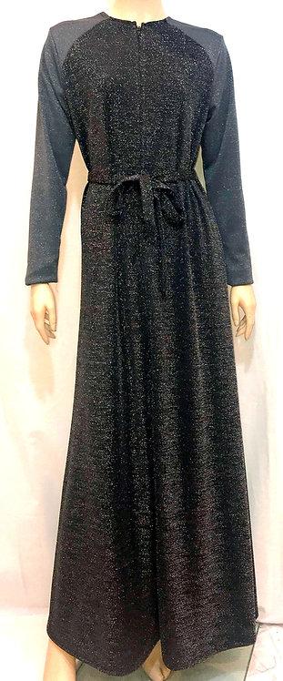 Modest Robe Front Zipper Black & Gray Sparkle