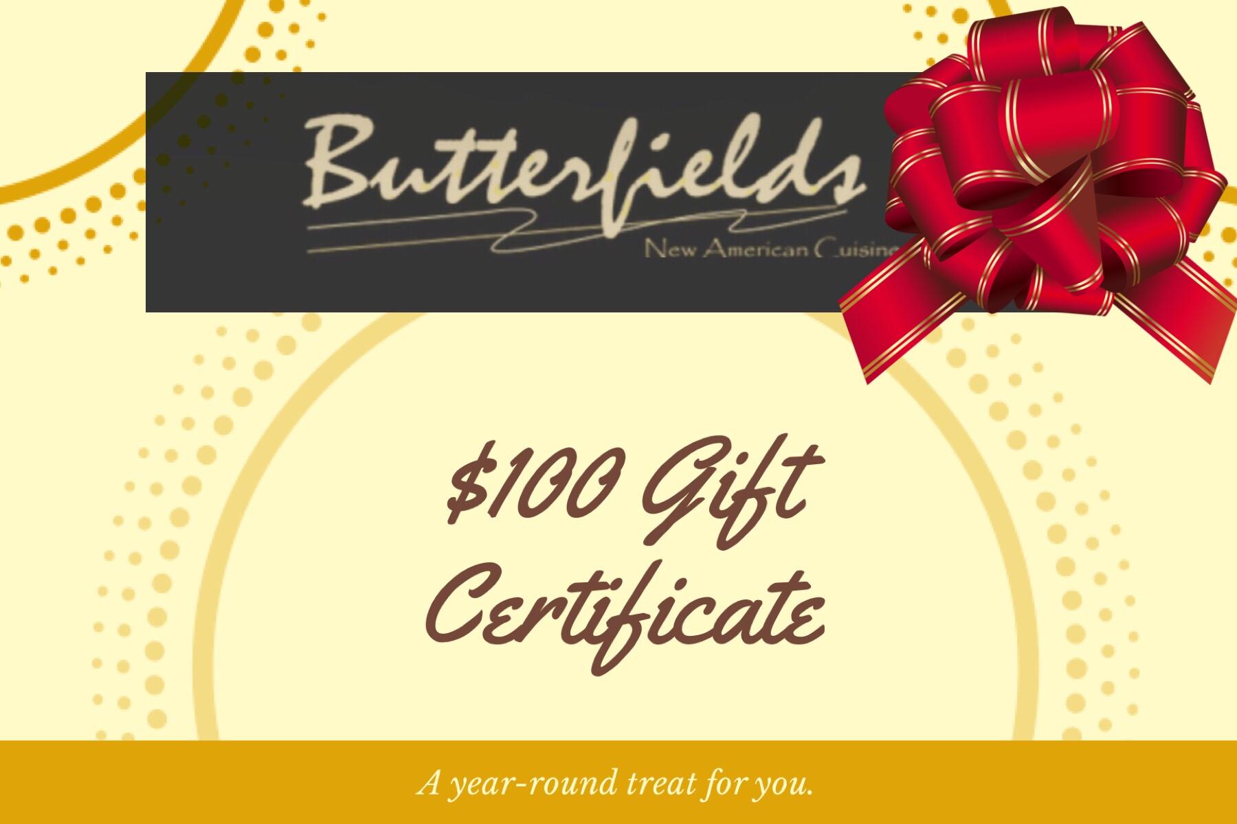 Butterfields Restaurant Gift Certificate