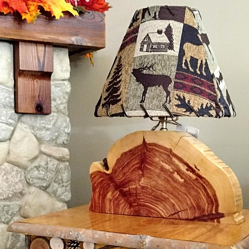 Small Cedar Slab Table Lamp (with or without shade)