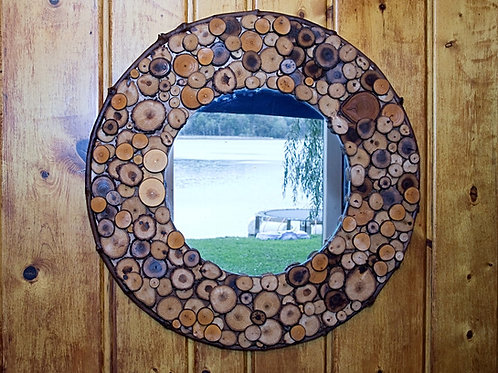 29 Inch Round Rustic Mirror