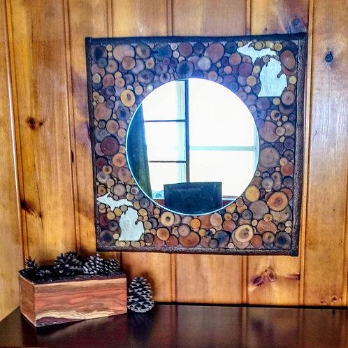 26 Inch Square Rustic Mirror