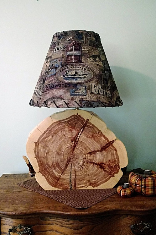 Large Cedar Slab Lamp (with or without shade)