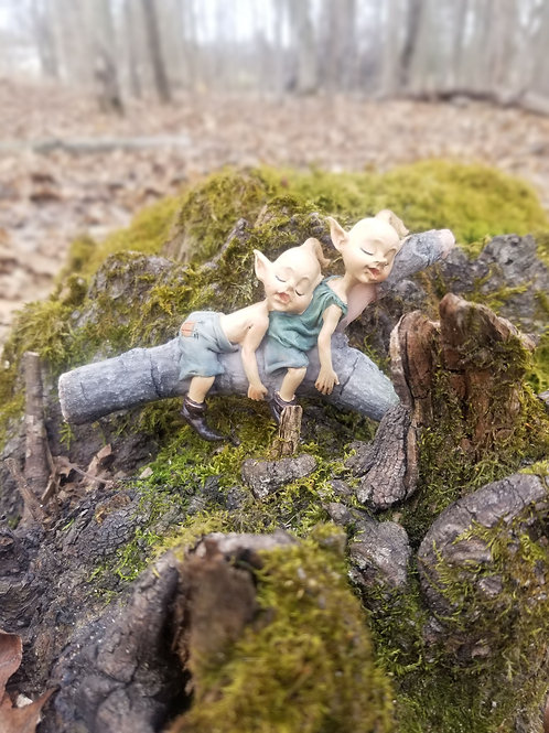 Garden Pixies Napping on Tree Log