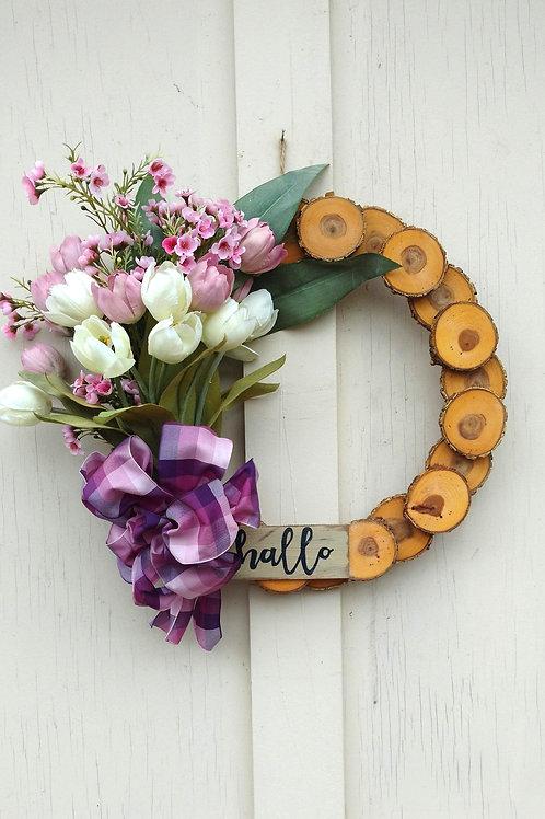 15 inch Oak Rustic Wreath/Spring-Summer