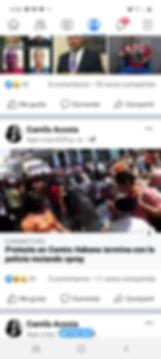 Publicaciones de Camila Acosta en Facebook
