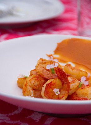 sake-steamed shrimp