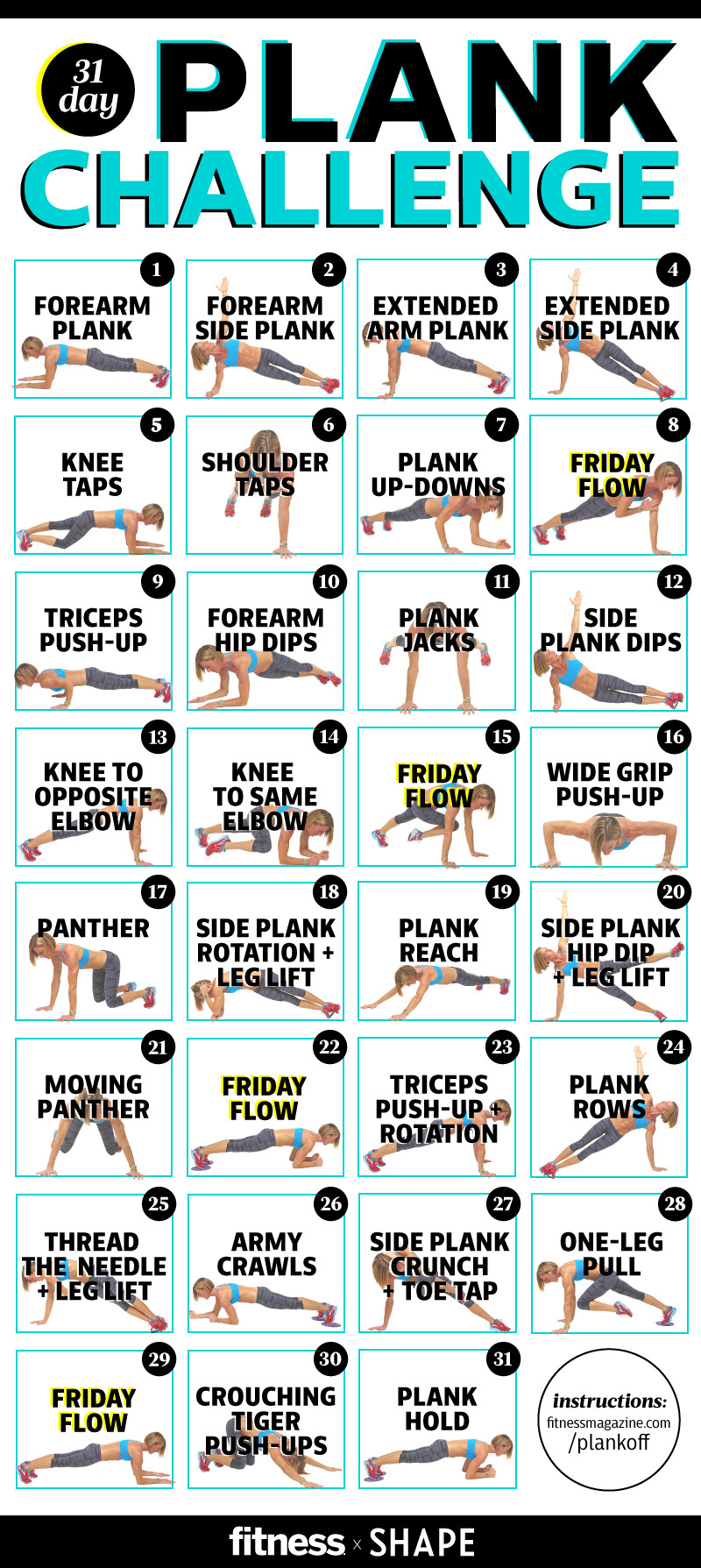 Check out Shape.com for a plank challenge to strengthen core!