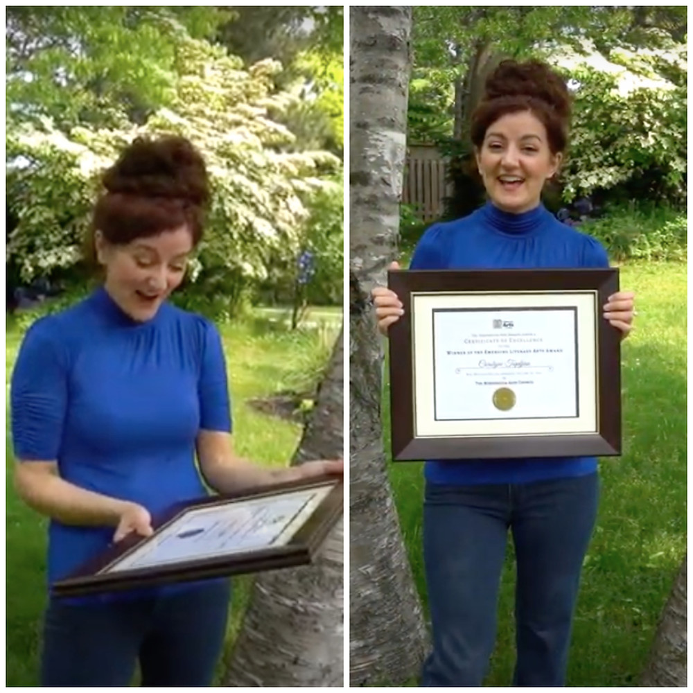 video stills of me accepting my MARTY award