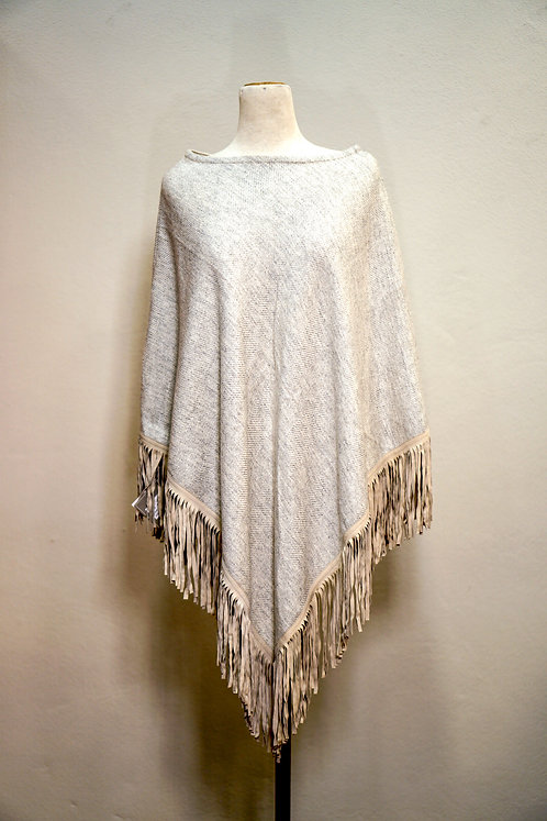 Ahmaddy Poncho mit  Fischgrätmuster in Creme