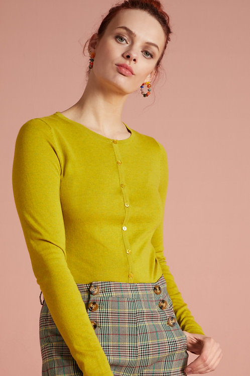 King Louie Cardi Roundneck Cocoon in Spring Yellow