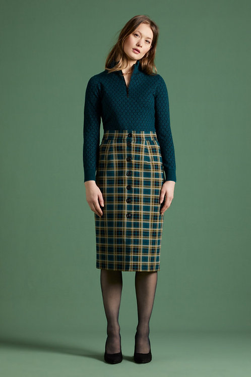 King Louie Pencil Button Skirt Rodeo Check in Dragonfly Green