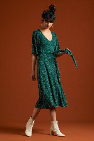 King Louie Zita Dress Little Dots Midi-Kleid in Green Pine