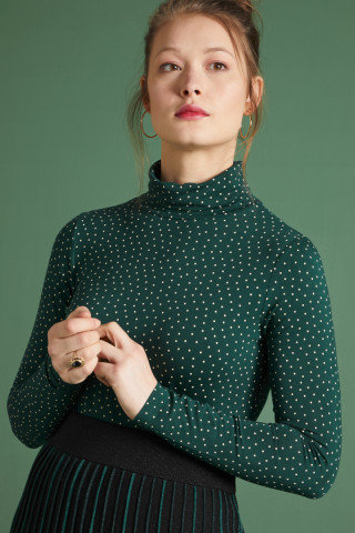 King Louie Betsy Rollneck Top Little Dots in Pine Green