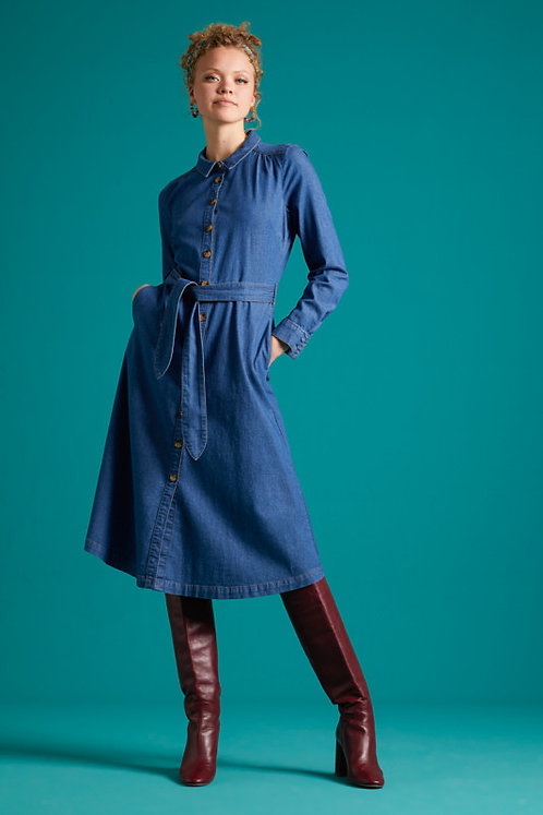 King Louie Olive Dress Chambray in River Blue