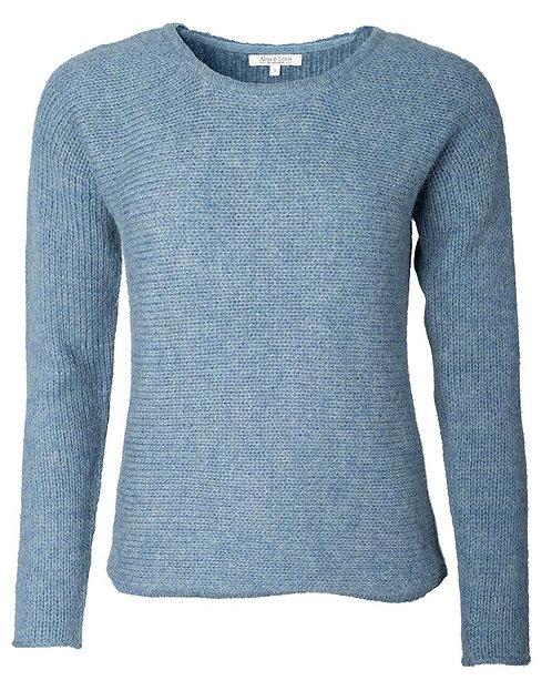 Alma & Lovis Cross Knit weicher Pullover in Jaspis