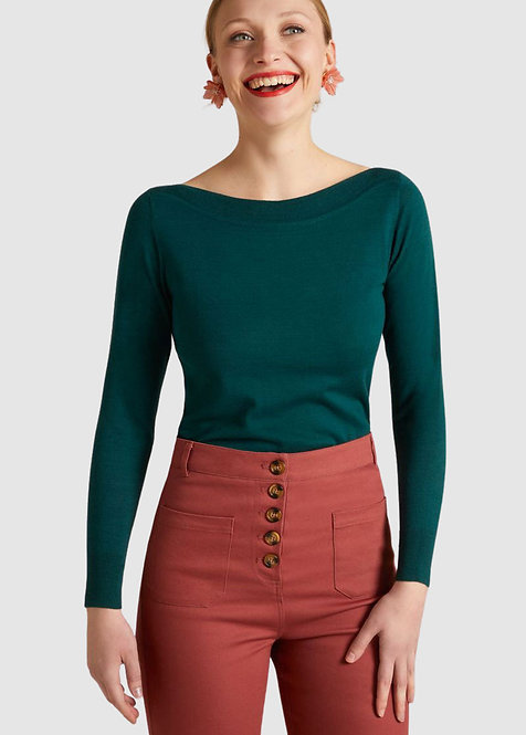 King Louie Audrey Top Organic Cottonclub in Pine Green