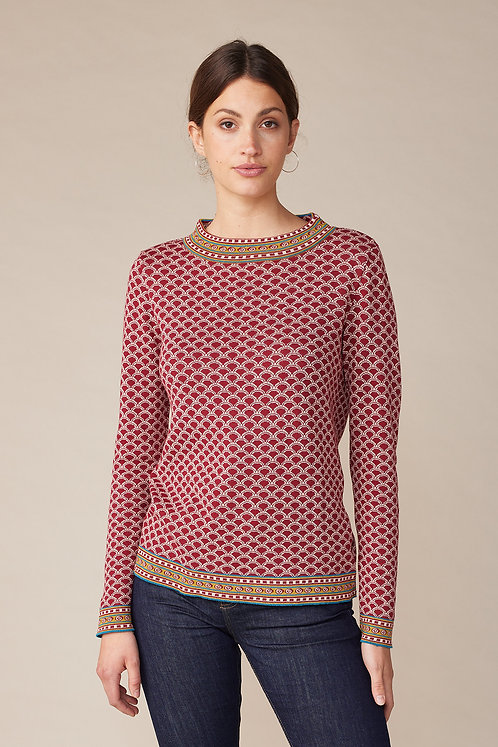 Lana Pulli ESTELLE mit Jacquard-Muster in Blanche Red Dahlia