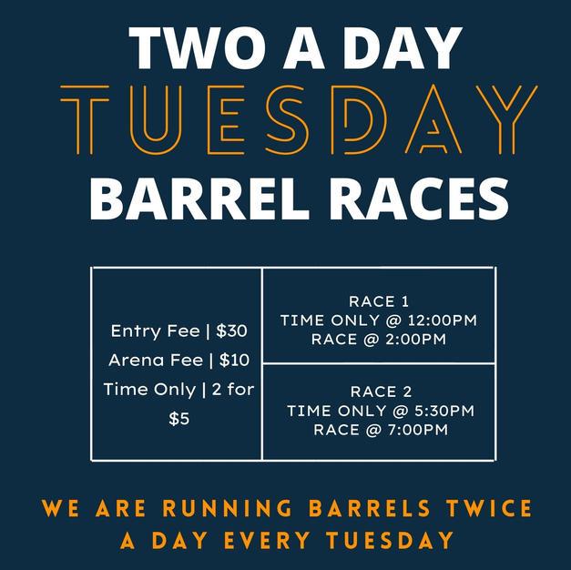TWO A DAY TUESDAY BARREL RACE FLYER 2020