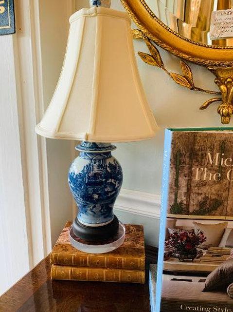 "18"" Blue & White Lamp, Silk Shade"