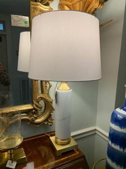 Chelsea House White Marble Lamp - Pair