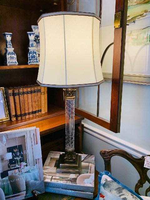 Chelsea House Cut Crystal and Antq. Gold Lamp - Pair