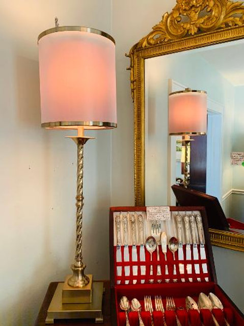 Brushed Brass Buffet Lamp with Dual Shade