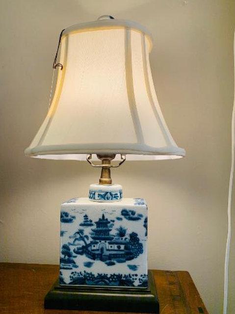 Small Blue & White Lamp w/ silk shade
