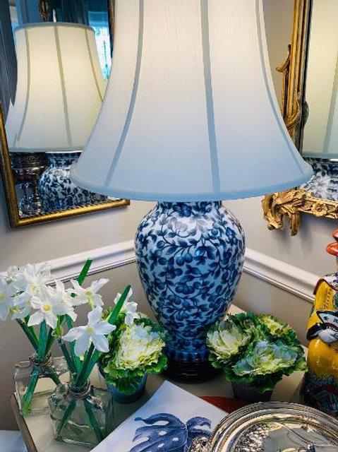 Blue & White Lamp - Floral, silk shade