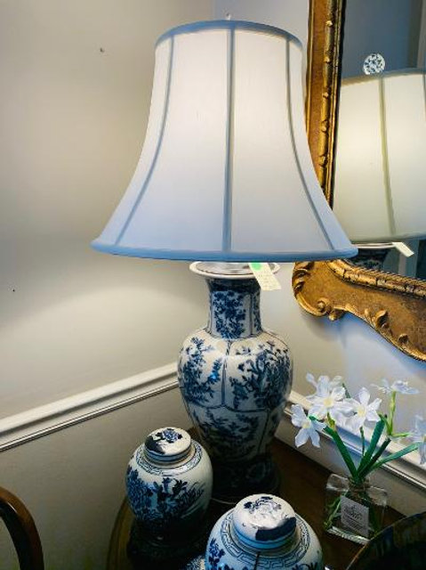Blue& White Lamp w/ silk shade