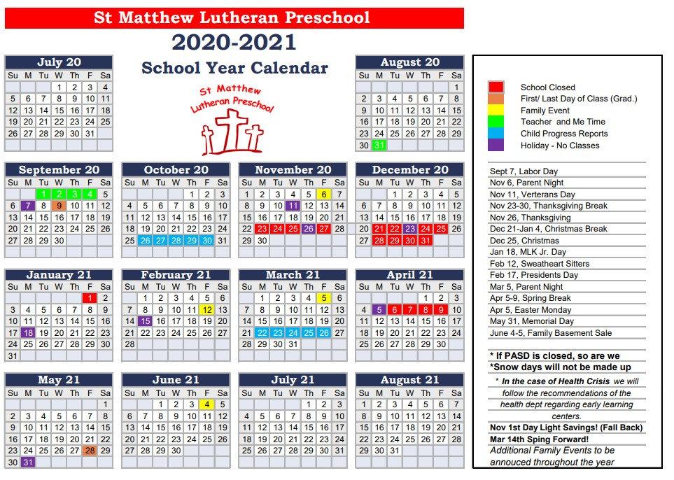 2020-2021 Preschho Calendar St. Matthew Lutheran Preschool Port Angeles, Washington