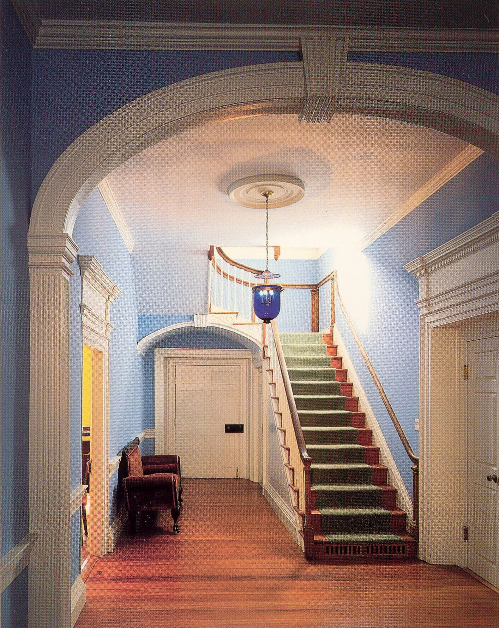 The Main Hallway of the Clover Forest Plantation Manor Home, within the brick central core of the building, completed as an addition in 1811