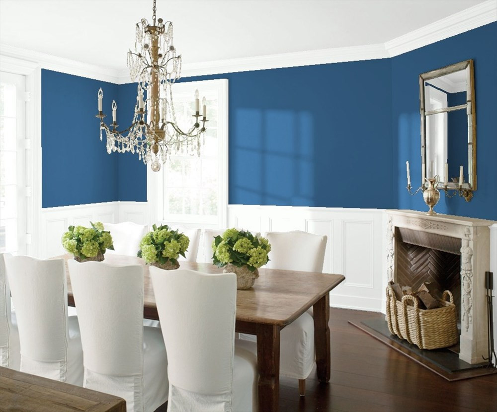 A Modern Dining Room in Prussian Blue