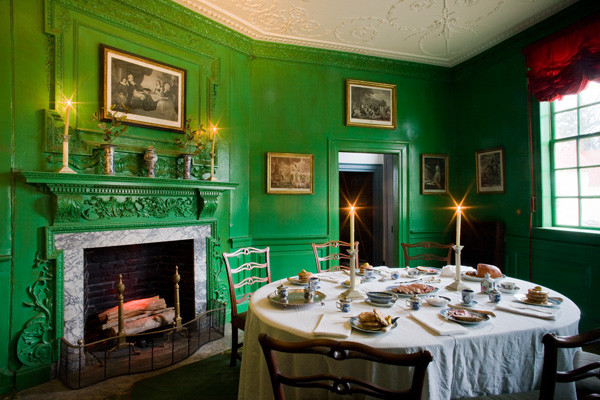 """The stunning """"George Washington Green"""" paint color in the dining room at Mount Vernon"""
