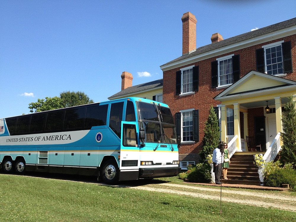 Photo of Luxury Motorcoach parked at Clover Forest Plantation in Goochland County, Virginia