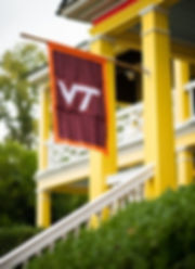The flag of Virginia Tech University hanging proudly at Clover Forest Plantation during a Wedding Weekend