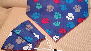 Blue colored paws bandanna