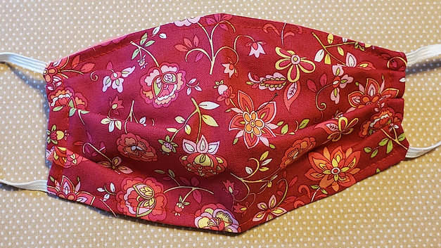 Red with pink flowers