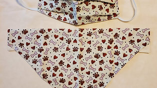 Tan hearts and paws bandanna