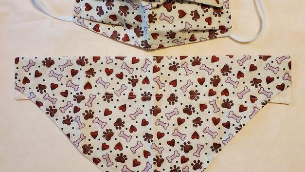 Tan hearts and paws bandanna