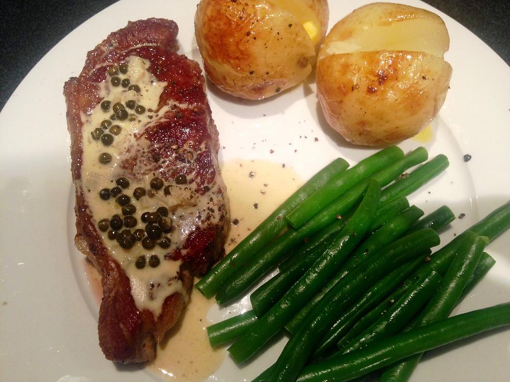 Steak with Green Peppercorn sauce.jpg