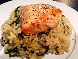 Baked Salmon with Lemon and Leek Risotto