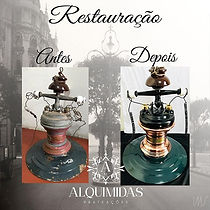 Esta luminária é de meados de 1920. Foi uma das primeiras de lâmpadas incandescentes usadas no Rio de Janeiro. Ela foi toda restaurada preservando sua originalidade. cobre bronze e restauração