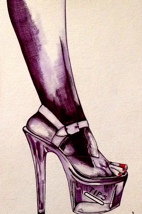 "Original Ink Drawing ""Nightlife Sole"""