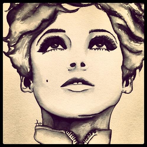 """Original Ink Drawing: """"Edie"""""""