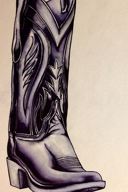 "Original Ink Drawing ""Texan Sole"""