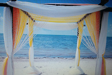 myrtle beach weddings under bamboo arbor decorated with white , yellow and peach tulle