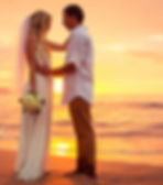 Myrtle Beach White wedding dress, white wedding bouquet, sunset