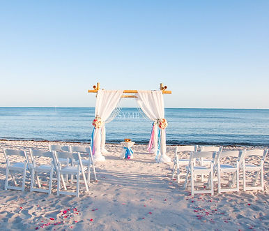 myrtle beach weddings are elegant and romantic with bamboo arbor and red and white roses arrangements!